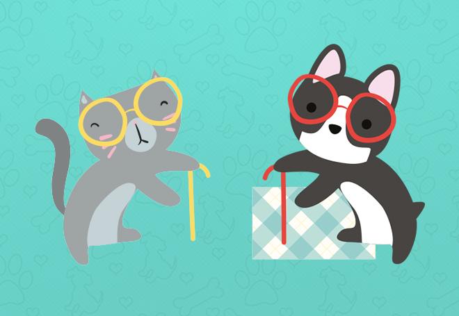 Infográfico gratuito sobre cuidados com cães e gatos idosos
